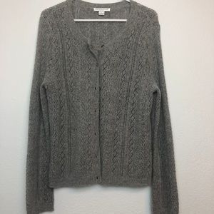 Gray Pendleton Petite Large Cardigan Sweater
